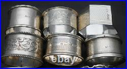 12x STERLING SILVER NAPKIN RINGS ENGLISH HALLMARKED 152g VINTAGE & ANTIQUE