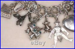 15% OFF! Antique Vtg Sterling 28 Charm Bracelet Rare Quality Moveable English