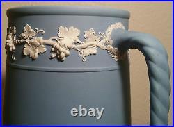 1901 WEDGWOOD milk pitcher jasperware antique english pottery vtg blue vase art