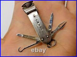 1928 Vintage Sterling English Silver Cigar Cutter / Piercer / Tool