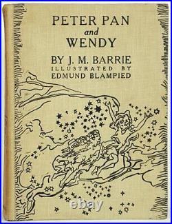 1940 PETER PAN AND WENDY Antique COLOR PLATES Children's J. M. BARRIE vtg Disney