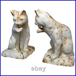 2 Fine Small Vintage Cast Iron Cute Feline Cat Animal Garden Statue Sculptures