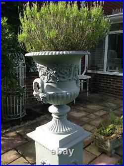 2 stately English cast iron vintage urns& bases 140cm H / grey lead treated