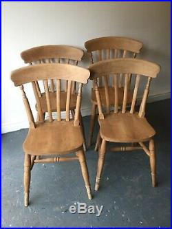 4x Rustic Solid Beech Slat Back English Country Vintage Farmhouse Dining Chairs