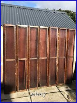 7 X Vintage Church Wooden Glass Shutters Reclaimed Window Purple Glass Doors