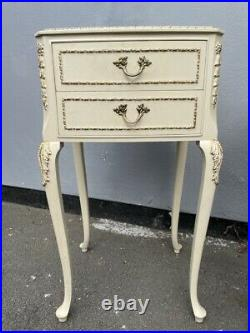A Pair of Vintage French Antique Style Bedside Cabinets in Old English White