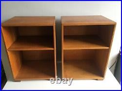A Pair of Vintage Mid-Century 1959 English Oak Bedside Table Cabinets
