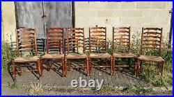 A Set of 6 Vintage Elm Ladder Back Kitchen Dining Chairs with Rush seats