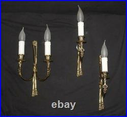 A Vintage Set Of 3 Wall Lights Brass Sconces (mr2)