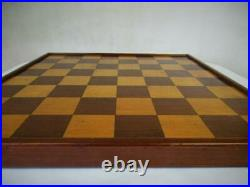 ANTIQUE OR VINTAGE ENGLISH CHESS BOARD 43 cm SQUARES OF 51 mm NO PIECES