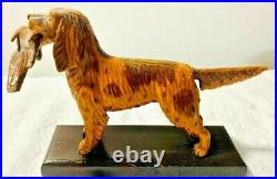 ANTIQUE VINTAGE FOLK ART HAND CARVED PAINTED ENGLISH SETTER HUNTING DOG With QUAIL