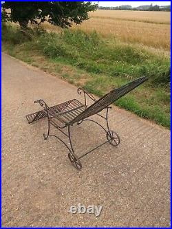 An Original, Vintage, Mid Century Cast Iron Sun Lounger With Signs Of Age & Wear