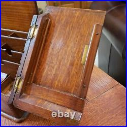 Antique 1800's Oak English Travel Writing Desk Document Vintage