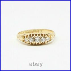 Antique 1910 English HM Solid 18ct Gold 750 Diamond Gypsy Ring Size N Vintage