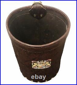 Antique Aimez Verite English Leather Fire Bucket Collectable Vintage