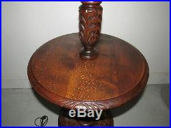Antique Art Nouveau Barley Twist Floor Lamp Table Vintage English Walnut Carved