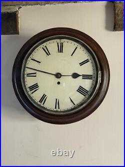 Antique English Fusee School Farm Wall Clock, Good Working Order