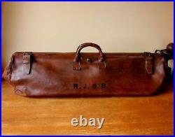 Antique English Leather Long Cricket Kit Bag. Vintage Coffin Bat Holdall