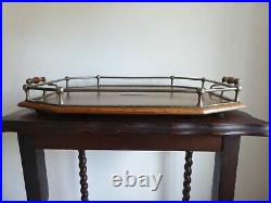 Antique English Oak Vintage Butlers Galleried Tray