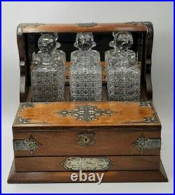Antique English Tantalus Cabinet Caddy Game Box Decanter Set Vintage 1887 Dated