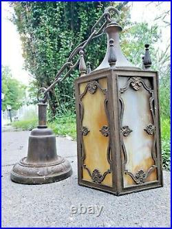 Antique English Tudor Gothic Medieval Slag Glass Sconce Light Art Crafts Vintage
