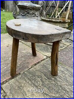 Antique Handmade Oak Milking Stool Vintage Rustic English Collectable