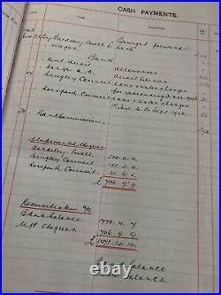 Antique Ledger 1940/55 Yorkshire Farm Estate Old Vintage Cash Book Hand Written