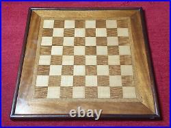 Antique Old Vintage Wooden English Framed Chess Board 47cm x 47cm 42mm Squares