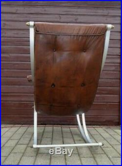 Antique Rocking Chair Leather Winfield Britain MID Century Vintage Rare