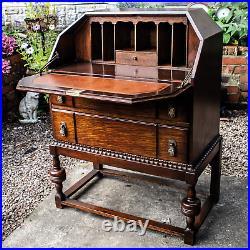 Antique Solid Oak Bureau Writing Desk English Made 1800s Vintage Furniture