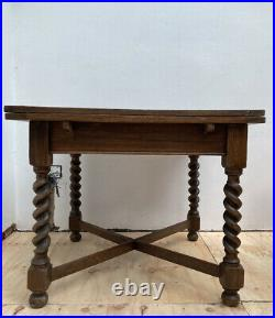 Antique Solid Wood Oak Barley Twist Draw Leaf Extending Vintage Dining Table