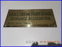 Antique/Vintage Brass Office Plaque/Sign, Engraved, 13.5 x 6 from GOOLE, SUPERB