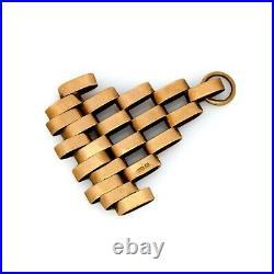 Antique Vintage Deco 9k Rose Gold English Fancy Link Chain Charm Pendant 1.2g