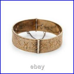 Antique Vintage Deco Style Sterling Silver 22k Gold Wash English Bangle Bracelet