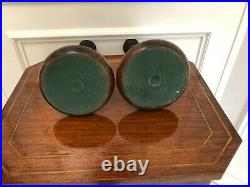 Antique Vintage English Oak Open Barley Twist Candlesticks 12