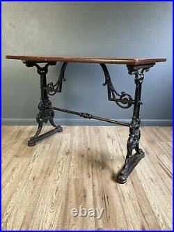 Antique Vintage English Pub Table Mancave Bar Cast Iron Table
