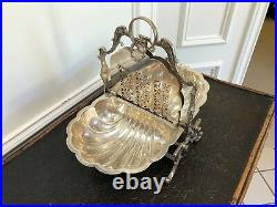 Antique Vintage English Silver Plate Roll Top Domed Server With 2 Trays