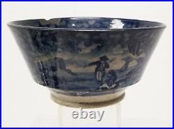 Antique Vintage English Transferware Pottery Bowl Blue and White Dish