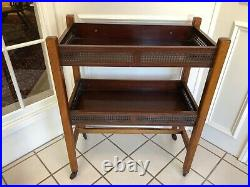 Antique Vintage English Victorian Mahogany Side Table Trolley On Casters