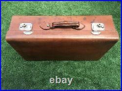 Antique Vintage Large Tan Leather English Suitcase c. 1920