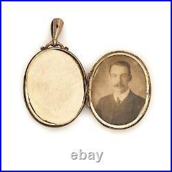 Antique Vintage Nouveau Sterling Silver English Bird Photo Locket Pendant 12.8g
