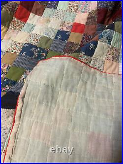 Antique Vintage Patchwork Quilt Double Bed Large Hand Sewn Bedspread 238cm