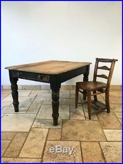 Antique Vintage Victorian Black Pine Farmhouse Table Two Drawers 1890s