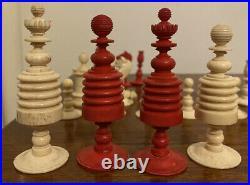 Antique Vintage Victorian Chess Set English Bovine Bone Red Stained Barleycorn