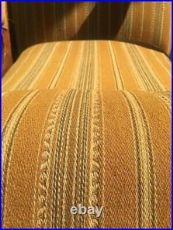Antique Wooden Old English Oak Arm Chair Yellow Mid Century Wool Fabric vintage