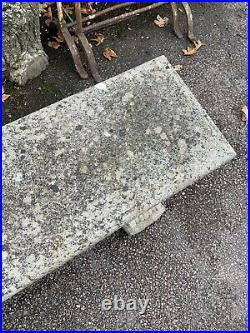 Antique vintage cast stone garden Bench Long Large Weathered