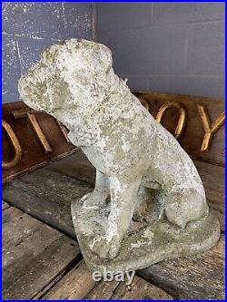 Antique vintage cast stone garden statue Bulldog Dog LARGE ornament