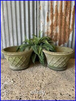 Antique vintage cast stone garden urn urns Lattice Basket Planter PAIR LARGE x2