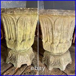 Antique vintage cast stone lotus urn PAIR Austin Seeley Blashfield Blanchard x2