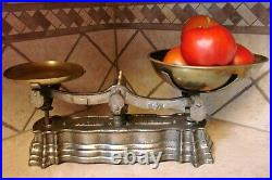 Beautiful Antique English Scale Original Weights Scales Vintage Brass Pans